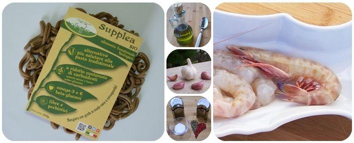 Ingredienti_ricetta_Strozzapreti Supplea Bio con carciofi e mazzancolle_Strozzapreti-mazzancolle-olio EVO-aglio-sale e pepe-